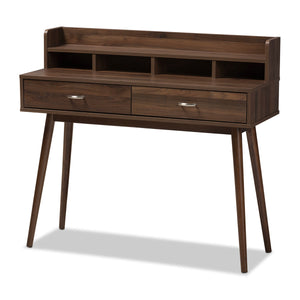 Baxton Studio Disa Mid-Century Modern Walnut Brown Finished 2-Drawer Desk Baxton Studio-Desks-Minimal And Modern - 1