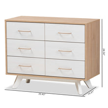 Baxton Studio Helena Mid-Century Modern Natural Oak and Whitewashed Finished Wood 6-Drawer Dresser Baxton Studio-Dresser-Minimal And Modern - 2