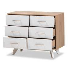 Baxton Studio Helena Mid-Century Modern Natural Oak and Whitewashed Finished Wood 6-Drawer Dresser Baxton Studio-Dresser-Minimal And Modern - 3