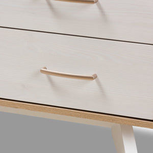Baxton Studio Helena Mid-Century Modern Natural Oak and Whitewashed Finished Wood 6-Drawer Dresser Baxton Studio-Dresser-Minimal And Modern - 6