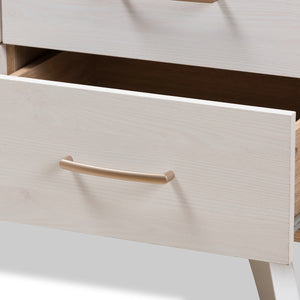 Baxton Studio Helena Mid-Century Modern Natural Oak and Whitewashed Finished Wood 6-Drawer Dresser Baxton Studio-Dresser-Minimal And Modern - 7