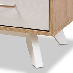Baxton Studio Helena Mid-Century Modern Natural Oak and Whitewashed Finished Wood 6-Drawer Dresser Baxton Studio-Dresser-Minimal And Modern - 8