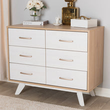 Baxton Studio Helena Mid-Century Modern Natural Oak and Whitewashed Finished Wood 6-Drawer Dresser Baxton Studio-Dresser-Minimal And Modern - 9