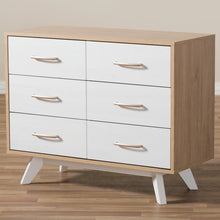 Baxton Studio Helena Mid-Century Modern Natural Oak and Whitewashed Finished Wood 6-Drawer Dresser Baxton Studio-Dresser-Minimal And Modern - 10