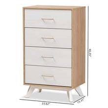 Baxton Studio Helena Mid-Century Modern Natural Oak and Whitewashed Finished Wood 4-Drawer Chest Baxton Studio-Dresser-Minimal And Modern - 2