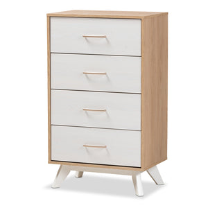 Baxton Studio Helena Mid-Century Modern Natural Oak and Whitewashed Finished Wood 4-Drawer Chest Baxton Studio-Dresser-Minimal And Modern - 1