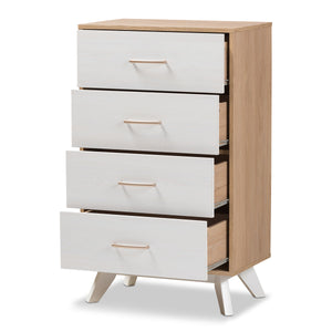 Baxton Studio Helena Mid-Century Modern Natural Oak and Whitewashed Finished Wood 4-Drawer Chest Baxton Studio-Dresser-Minimal And Modern - 3