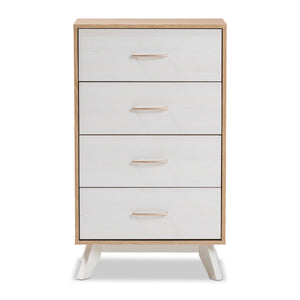 Baxton Studio Helena Mid-Century Modern Natural Oak and Whitewashed Finished Wood 4-Drawer Chest Baxton Studio-Dresser-Minimal And Modern - 4