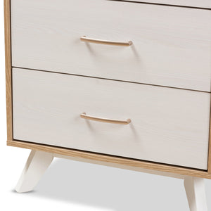 Baxton Studio Helena Mid-Century Modern Natural Oak and Whitewashed Finished Wood 4-Drawer Chest Baxton Studio-Dresser-Minimal And Modern - 6