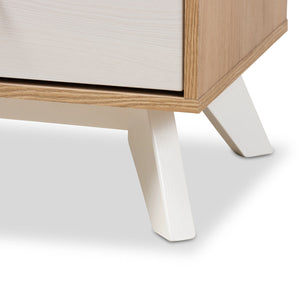 Baxton Studio Helena Mid-Century Modern Natural Oak and Whitewashed Finished Wood 4-Drawer Chest Baxton Studio-Dresser-Minimal And Modern - 8