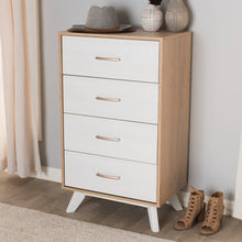 Baxton Studio Helena Mid-Century Modern Natural Oak and Whitewashed Finished Wood 4-Drawer Chest Baxton Studio-Dresser-Minimal And Modern - 9