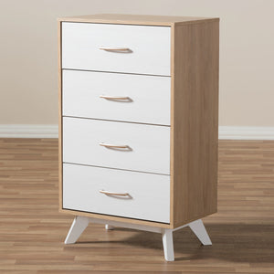 Baxton Studio Helena Mid-Century Modern Natural Oak and Whitewashed Finished Wood 4-Drawer Chest Baxton Studio-Dresser-Minimal And Modern - 10