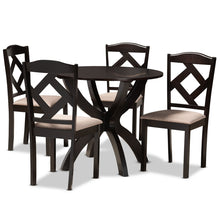 Baxton Studio Quinlan Modern and Contemporary Sand Fabric Upholstered and Dark Brown Finished Wood 5-Piece Dining Set Baxton Studio-Dining Sets-Minimal And Modern - 1