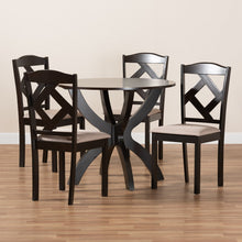 Baxton Studio Quinlan Modern and Contemporary Sand Fabric Upholstered and Dark Brown Finished Wood 5-Piece Dining Set
