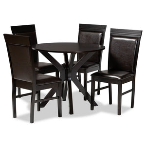 Baxton Studio Jeane Modern and Contemporary Dark Brown Faux Leather Upholstered and Dark Brown Finished Wood 5-Piece Dining Set Baxton Studio-Dining Sets-Minimal And Modern - 1