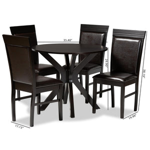 Baxton Studio Jeane Modern and Contemporary Dark Brown Faux Leather Upholstered and Dark Brown Finished Wood 5-Piece Dining Set