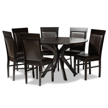 Baxton Studio Jeane Modern and Contemporary Dark Brown Faux Leather Upholstered and Dark Brown Finished Wood 7-Piece Dining Set Baxton Studio-Dining Sets-Minimal And Modern - 1