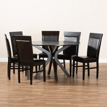 Baxton Studio Jeane Modern and Contemporary Dark Brown Faux Leather Upholstered and Dark Brown Finished Wood 7-Piece Dining Set