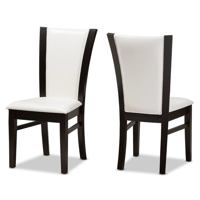 Baxton Studio Adley Modern and Contemporary Dark Brown Finished White Faux Leather Dining Chair (Set of 2) Baxton Studio-dining chair-Minimal And Modern - 1