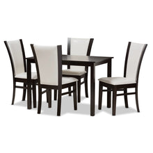 Baxton Studio Adley Modern and Contemporary 5-Piece Dark Brown Finished White Faux Leather Dining Set Baxton Studio-0-Minimal And Modern - 1
