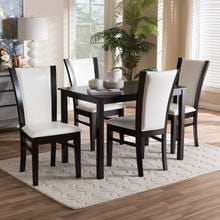 Baxton Studio Adley Modern and Contemporary 5-Piece Dark Brown Finished White Faux Leather Dining Set Baxton Studio-0-Minimal And Modern - 5