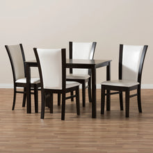 Baxton Studio Adley Modern and Contemporary 5-Piece Dark Brown Finished White Faux Leather Dining Set Baxton Studio-0-Minimal And Modern - 6