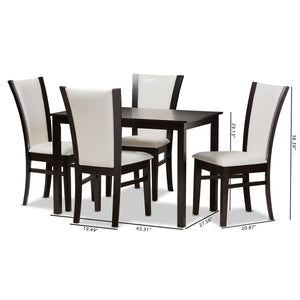 Baxton Studio Adley Modern and Contemporary 5-Piece Dark Brown Finished White Faux Leather Dining Set Baxton Studio-0-Minimal And Modern - 7