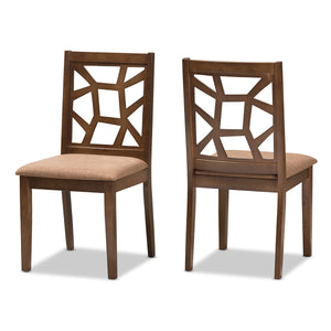 Baxton Studio Abilene Mid-Century Light Brown Fabric Upholstered and Walnut Brown Finished Dining Chair (Set of 2) Baxton Studio-dining chair-Minimal And Modern - 1