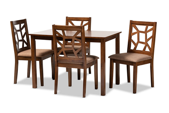 Baxton Studio Abilene Mid-Century Light Brown Fabric Upholstered and Walnut Brown Finished 5-Piece Wood Dining Set Baxton Studio-Dining Sets-Minimal And Modern - 1