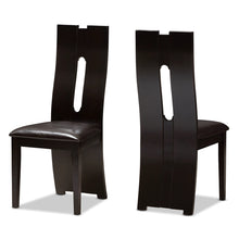 Baxton Studio Alani Modern and Contemporary Dark Brown Faux Leather Upholstered Dining Chair (Set of 2) Baxton Studio-dining chair-Minimal And Modern - 1