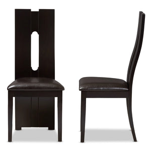 Baxton Studio Alani Modern and Contemporary Dark Brown Faux Leather Upholstered Dining Chair (Set of 2) Baxton Studio-dining chair-Minimal And Modern - 3