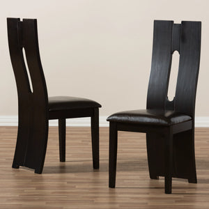 Baxton Studio Alani Modern and Contemporary Dark Brown Faux Leather Upholstered Dining Chair (Set of 2) Baxton Studio-dining chair-Minimal And Modern - 6