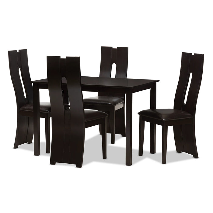 Baxton Studio Alani Modern and Contemporary Dark Brown Faux Leather Upholstered 5-Piece Dining Set Baxton Studio-0-Minimal And Modern - 1