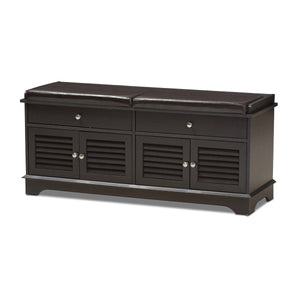Baxton Studio Leo Modern and Contemporary Dark Brown Wood 2-Drawer Shoe Storage Bench Baxton Studio-benches-Minimal And Modern - 1