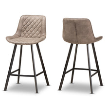 Baxton Studio Pickford Mid-Century Modern Light Brown Fabric Upholstered Counter Stool (Set of 2) Baxton Studio-Bar Stools-Minimal And Modern - 1