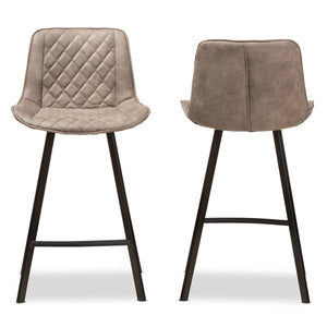 Baxton Studio Pickford Mid-Century Modern Light Brown Fabric Upholstered Counter Stool (Set of 2) Baxton Studio-Bar Stools-Minimal And Modern - 2