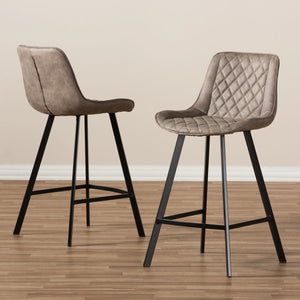 Baxton Studio Pickford Mid-Century Modern Light Brown Fabric Upholstered Counter Stool (Set of 2) Baxton Studio-Bar Stools-Minimal And Modern - 5