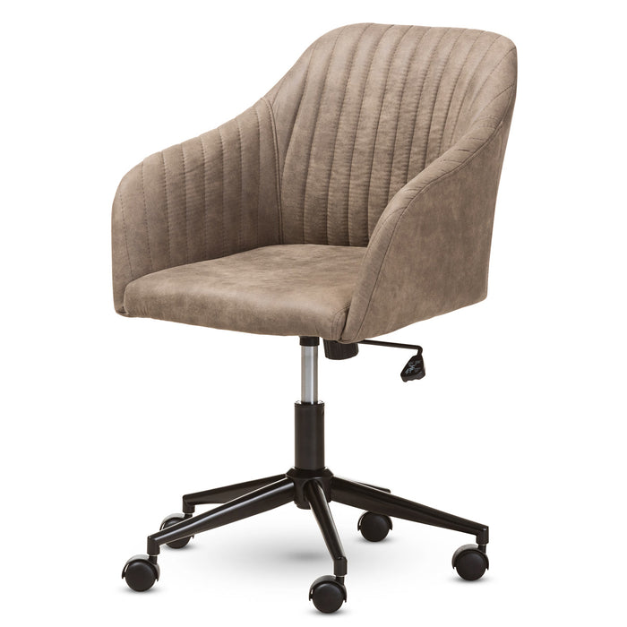 Baxton Studio Maida Mid-Century Modern Light Brown Fabric Upholstered Office Chair Baxton Studio-office chairs-Minimal And Modern - 1