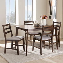 Baxton Studio Nadine Modern and Contemporary Walnut-Finished Light Grey Fabric Upholstered 5-Piece Dining Set Baxton Studio-0-Minimal And Modern - 4