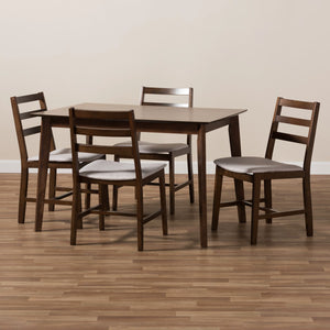 Baxton Studio Nadine Modern and Contemporary Walnut-Finished Light Grey Fabric Upholstered 5-Piece Dining Set Baxton Studio-0-Minimal And Modern - 5