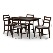 Baxton Studio Nadine Modern and Contemporary Walnut-Finished Light Grey Fabric Upholstered 5-Piece Dining Set Baxton Studio-0-Minimal And Modern - 6
