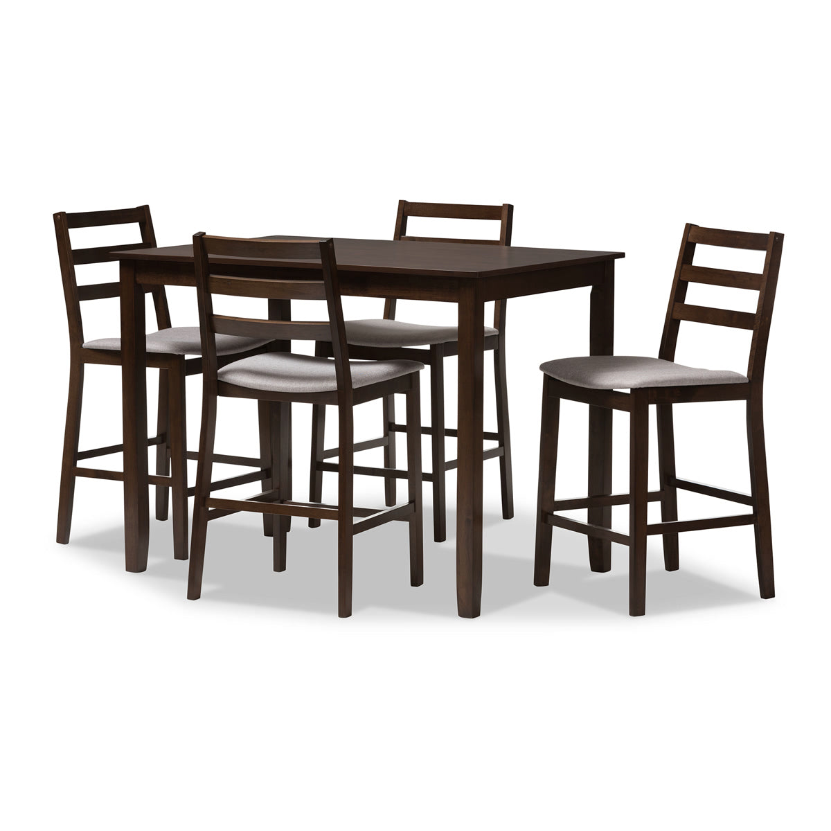 Baxton Studio Nadine Modern and Contemporary Walnut-Finished Light Grey Fabric Upholstered 5-Piece Pub Set Baxton Studio-0-Minimal And Modern - 1