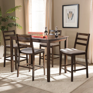 Baxton Studio Nadine Modern and Contemporary Walnut-Finished Light Grey Fabric Upholstered 5-Piece Pub Set Baxton Studio-0-Minimal And Modern - 4