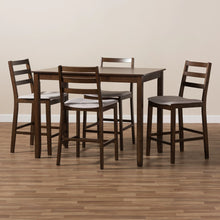 Baxton Studio Nadine Modern and Contemporary Walnut-Finished Light Grey Fabric Upholstered 5-Piece Pub Set Baxton Studio-0-Minimal And Modern - 5