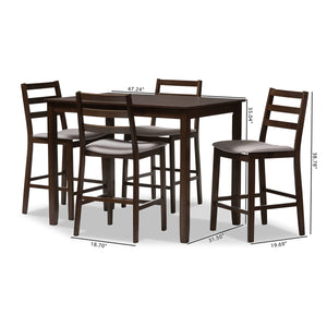 Baxton Studio Nadine Modern and Contemporary Walnut-Finished Light Grey Fabric Upholstered 5-Piece Pub Set Baxton Studio-0-Minimal And Modern - 6