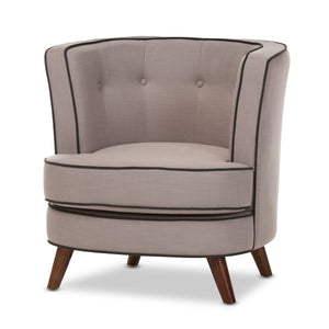 Baxton Studio Albany Mid-Century Modern Beige Fabric Upholstered Walnut Wood Button-Tufted Accent Chair Baxton Studio-chairs-Minimal And Modern - 2