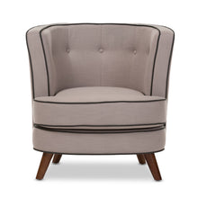 Baxton Studio Albany Mid-Century Modern Beige Fabric Upholstered Walnut Wood Button-Tufted Accent Chair Baxton Studio-chairs-Minimal And Modern - 3