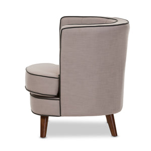 Baxton Studio Albany Mid-Century Modern Beige Fabric Upholstered Walnut Wood Button-Tufted Accent Chair Baxton Studio-chairs-Minimal And Modern - 4