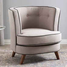 Baxton Studio Albany Mid-Century Modern Beige Fabric Upholstered Walnut Wood Button-Tufted Accent Chair Baxton Studio-chairs-Minimal And Modern - 1