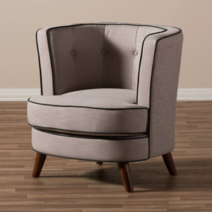 Baxton Studio Albany Mid-Century Modern Beige Fabric Upholstered Walnut Wood Button-Tufted Accent Chair Baxton Studio-chairs-Minimal And Modern - 8